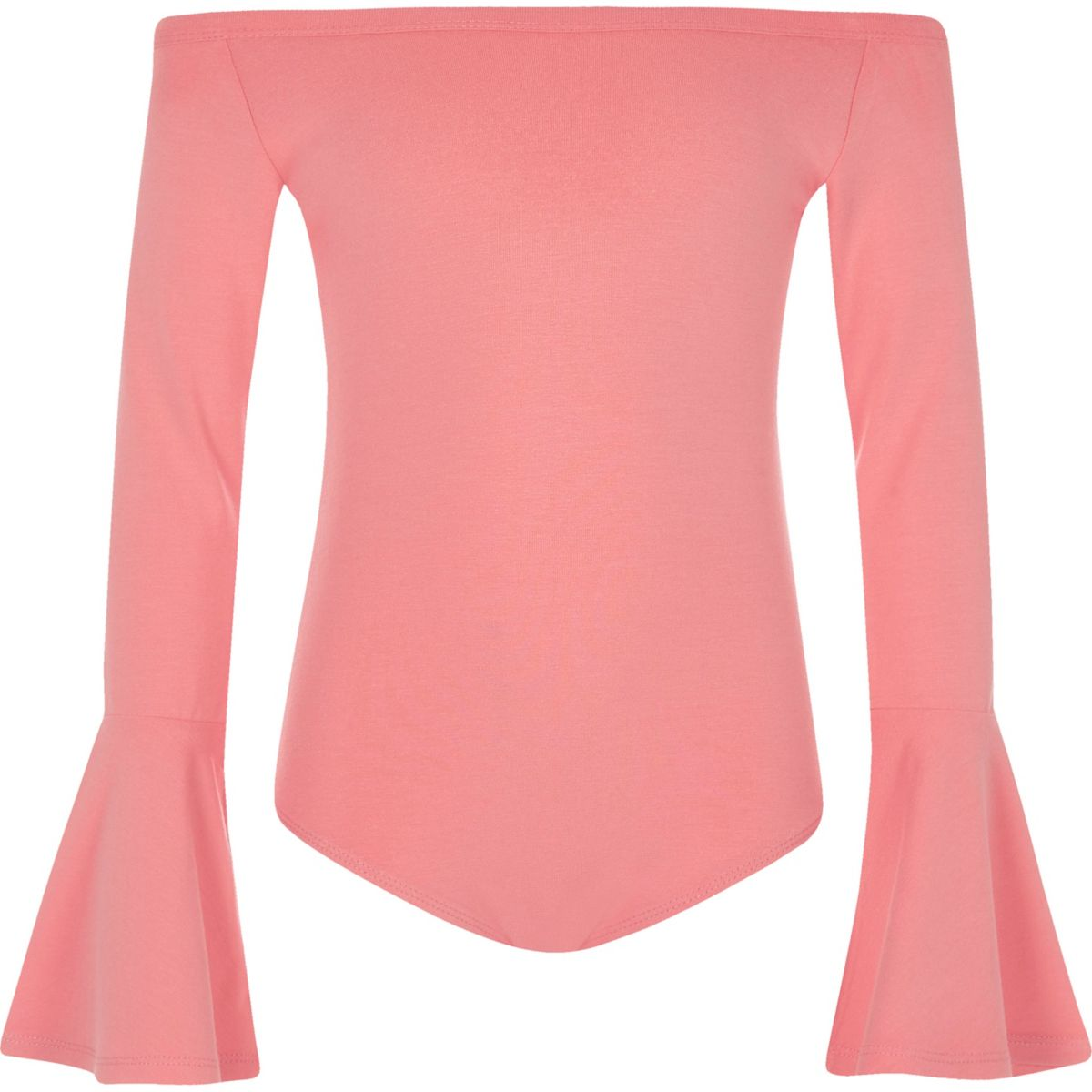 Girls coral bell sleeve bardot bodysuit