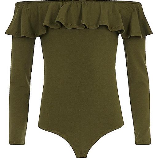Girls khaki green frill bardot bodysuit