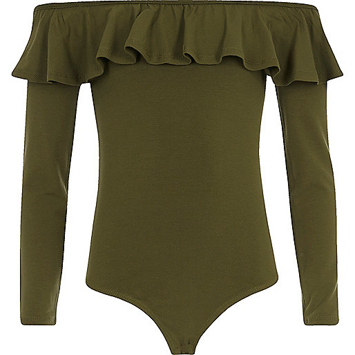 Girls khaki green frill bardot bodysuit