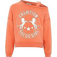 Girls coral unicorn one shoulder sweatshirt