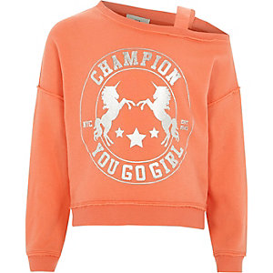 Girls coral unicorn one shoulder sweatshirt
