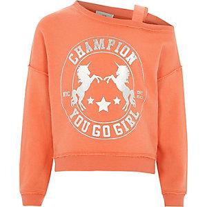 Koraalrood sweatshirt met eenhoorn en één schouder voor meisjes