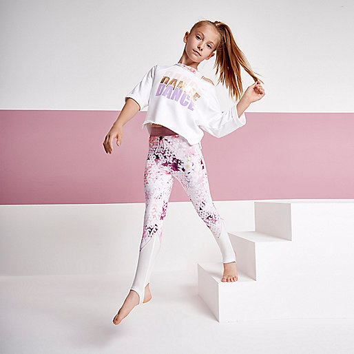 Girls RI active cream geo print leggings