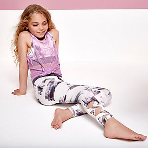 Girls cream paint print leggings