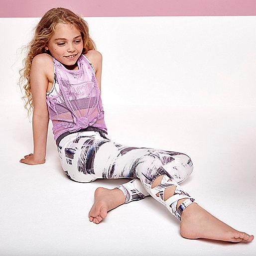Girls cream paint print leggings