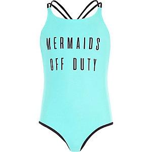 Blauw omkeerbaar zwempak met 'mermaids'-print