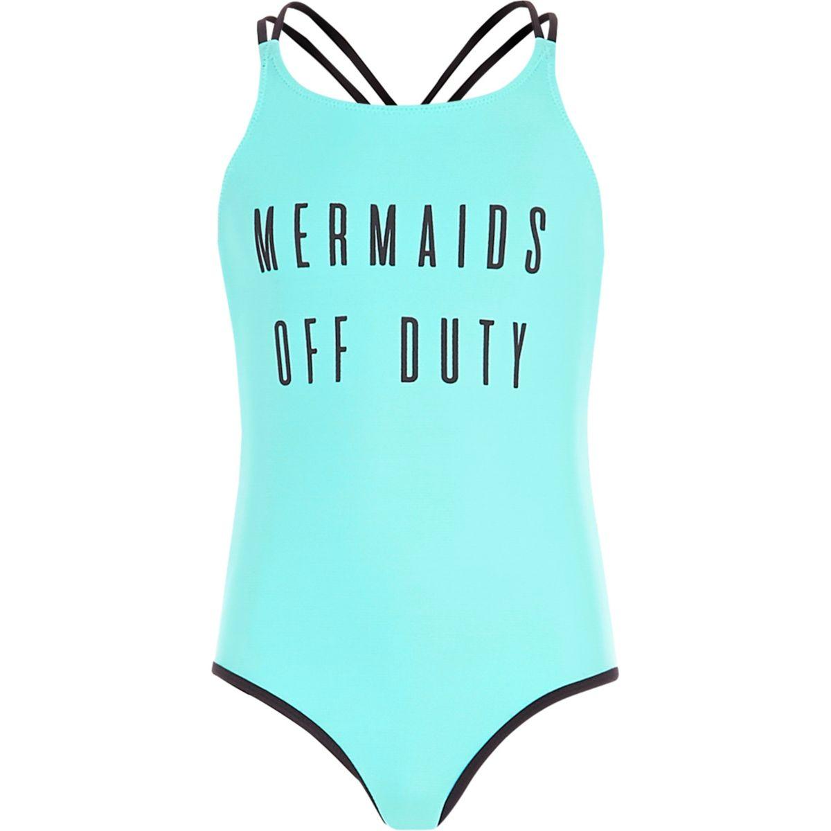 Girls blue 'mermaids' reversible swimsuit