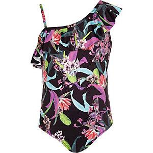 Zwart zwempak met blote schouder voor meisjes
