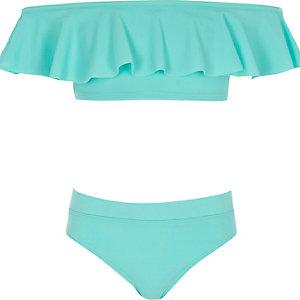 Blauwe bikiniset in bardotstijl met ruches voor meisjes