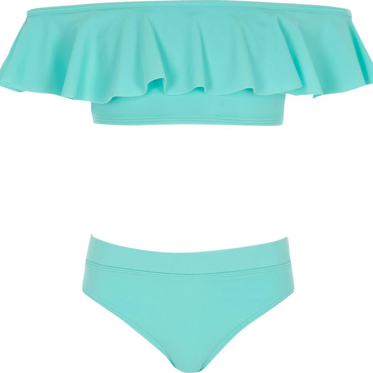 Ensemble bikini Bardot bleu à volant pour fille
