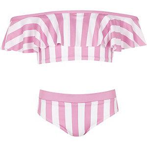 Roze gestreepte bikiniset in bardotstijl voor meisjes