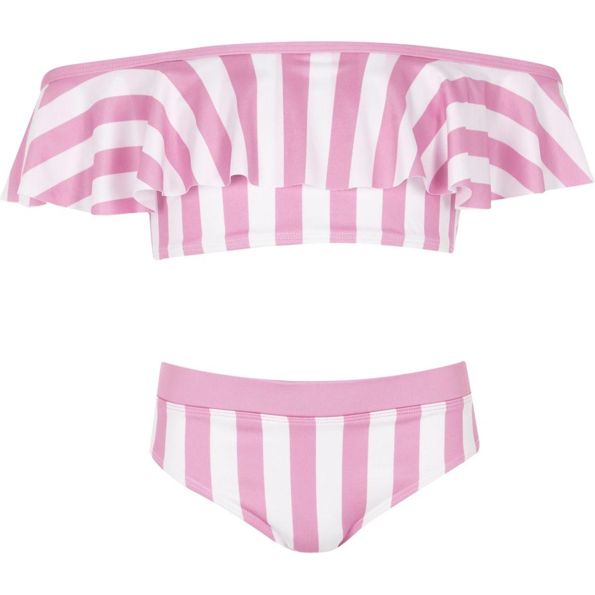 Girls pink stripe bardot bikini set