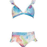 Girls pink paint splat triangle bikini set