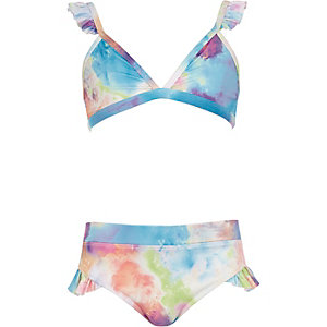 Girls pink paint splat triangle bikini set