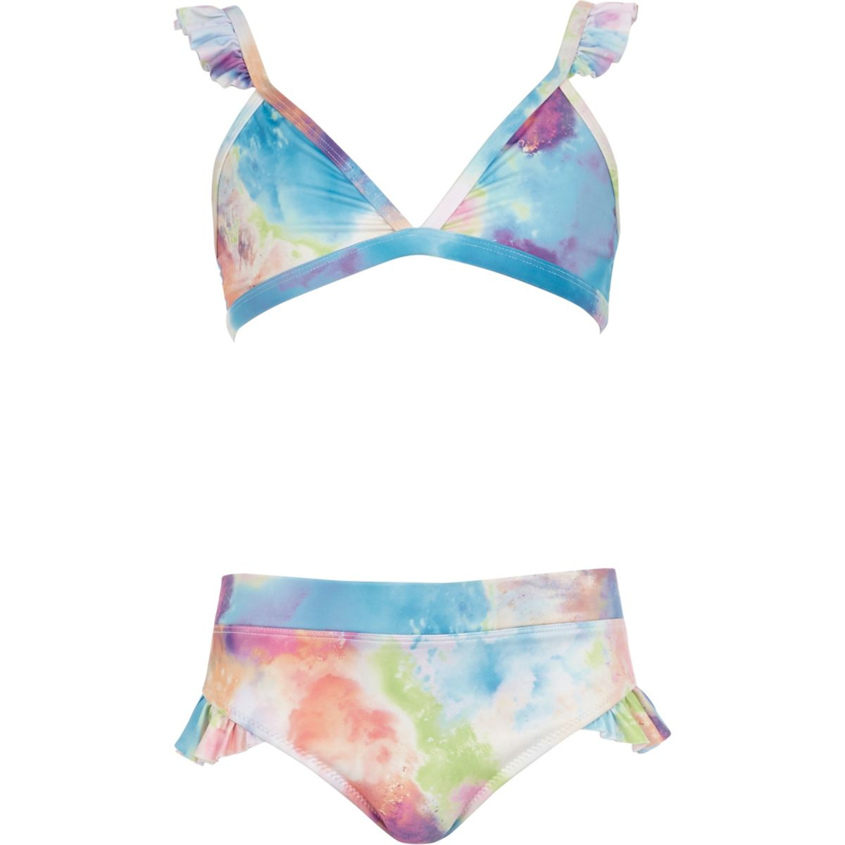 Triangel-Bikini mit Farbfleckenmuster