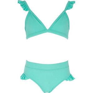 Bikini vert d'eau à volants pour fille