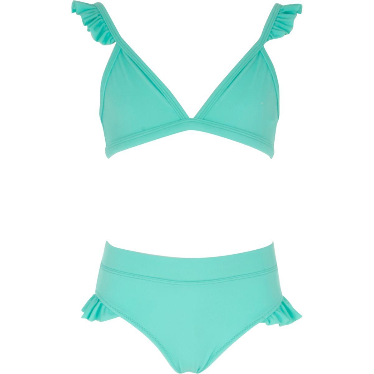 Girls aqua blue frill bikini