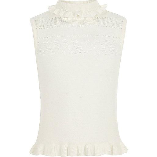 Girls cream pointelle knit sleeveless top