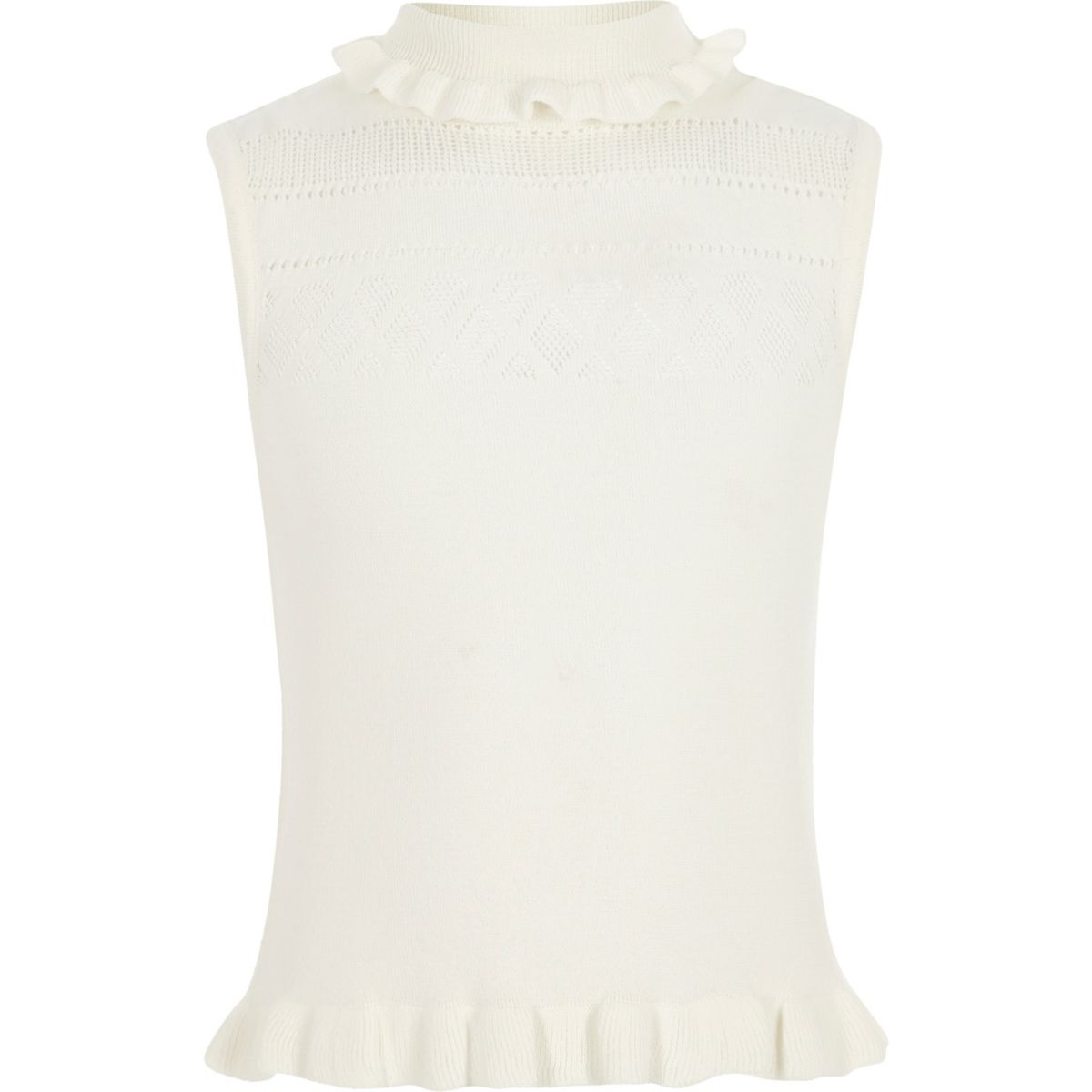 Girls cream pointelle knit sleeveless top