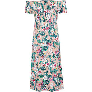 Girls pink tropical shirred bardot maxi dress