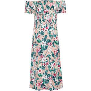 Rosa gesmoktes langes Bardot-Kleid mit Tropenmuster