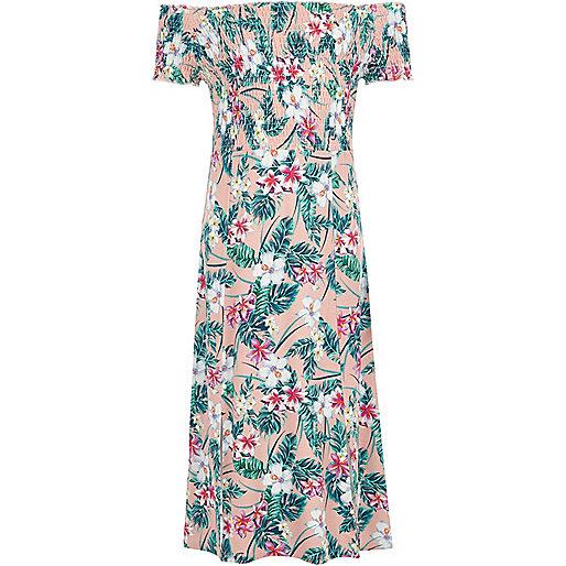 Girls pink tropical shirred bardot maxi dress