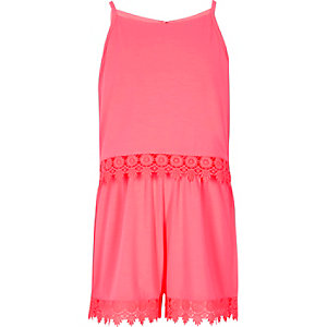 Girls pink layer crochet trim cami playsuit