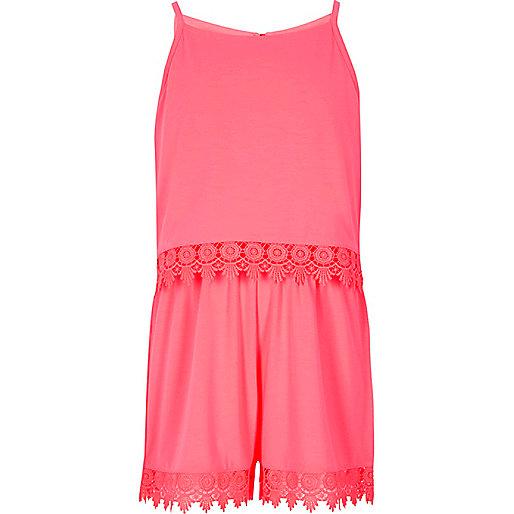 Girls pink layer crochet trim cami playsuit