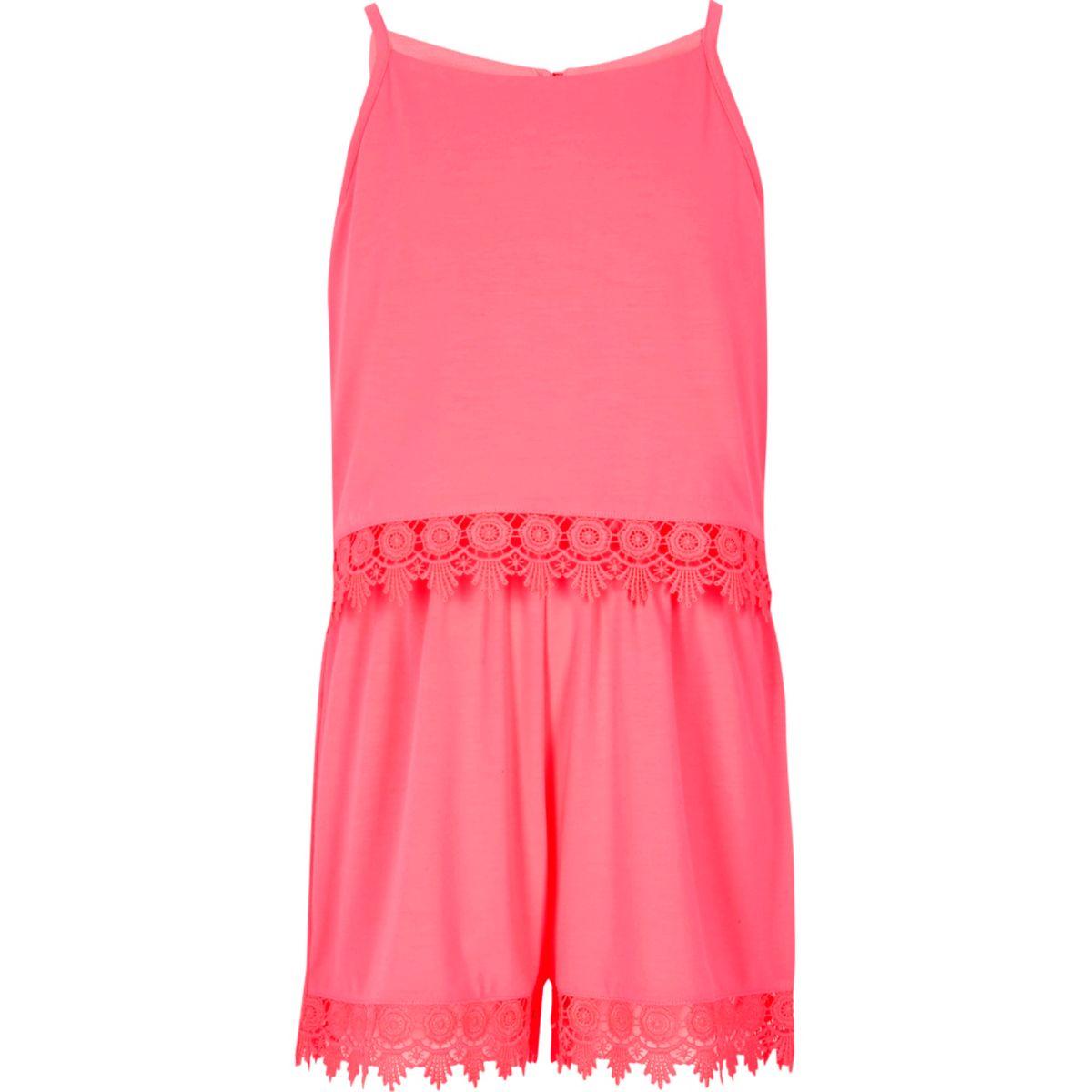 Girls pink layer crochet trim cami romper