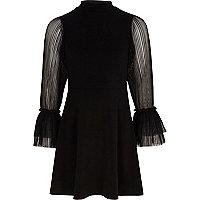 Girls black pleated mesh sleeve dress