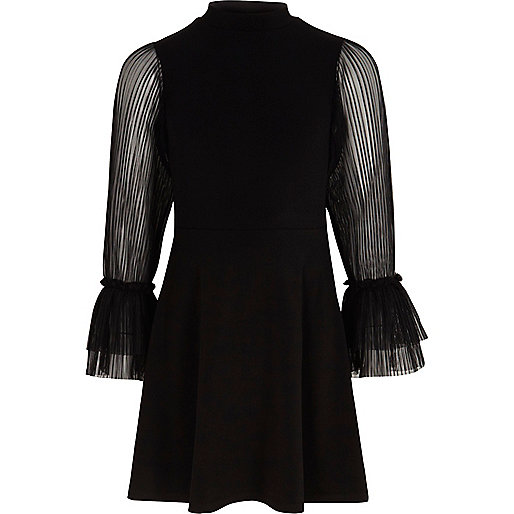 Girls black pleated mesh sleeve dress