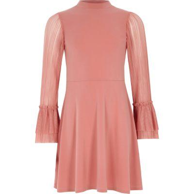 River Island Roze hoogsluitende jurk met geplooide mouwen voor meisjes