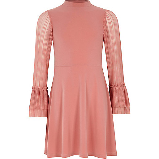 Girls pink pleated sleeve high neck dress