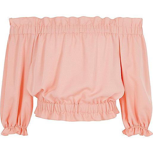 Girls light pink bardot top