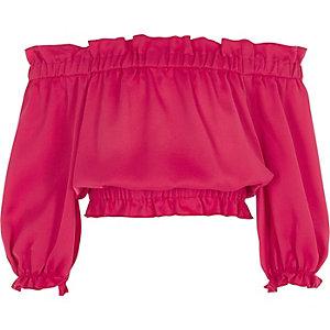 Crop top Bardot rose foncé à manches longues pour fille