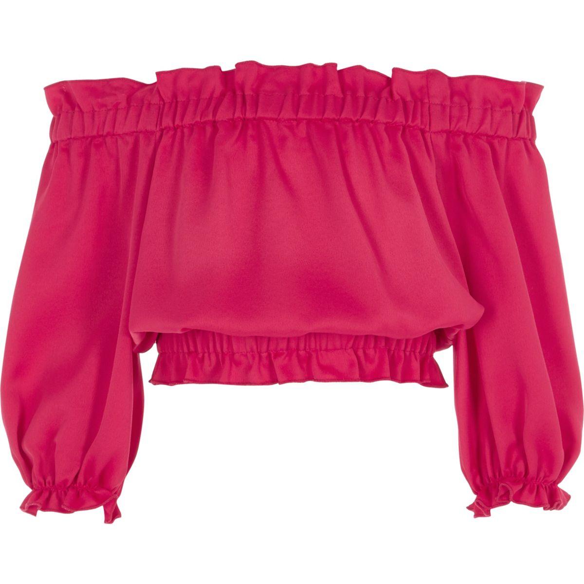 Girls dark pink long sleeve bardot crop top