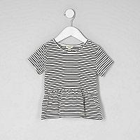 Mini girls stripe peplum hem T-shirt