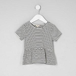 T-shirt rayé à ourlet péplum mini fille