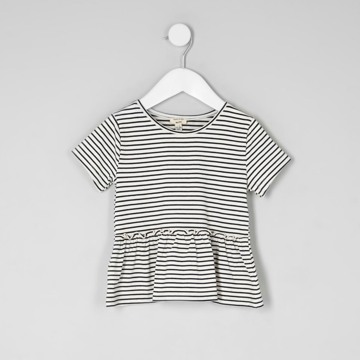 Mini girls stripe peplum hem T-shirt