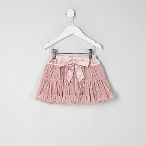 Mini girls pink layered tutu skirt