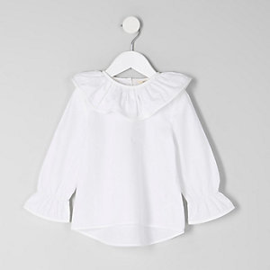 Mini girls white frill collar top