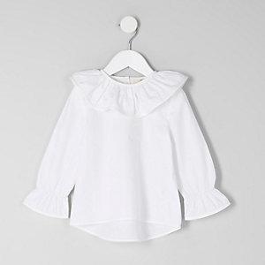 Mini - Witte top met ruches aan de hals voor meisjes
