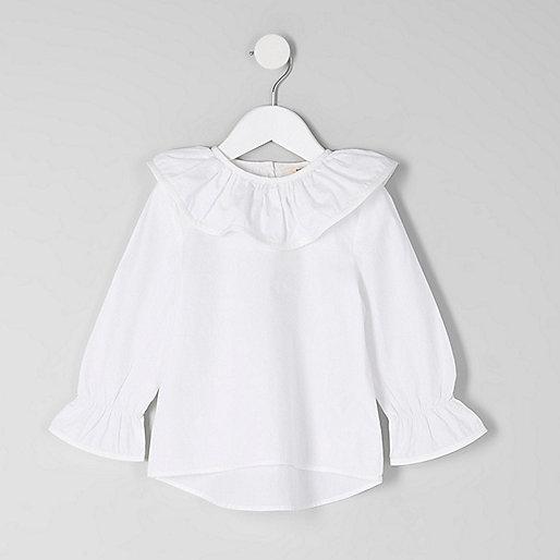 Mini girls white frill collar top