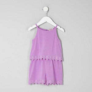 Mini girls purple layer crochet trim playsuit