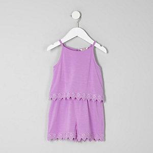 Combi-short violet bordé de crochet mini fille