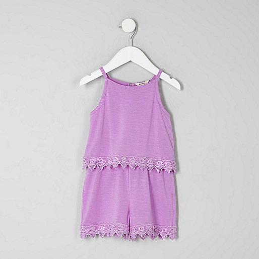 Mini girls purple layer crochet trim playsuit