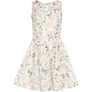 Girls white floral print prom dress