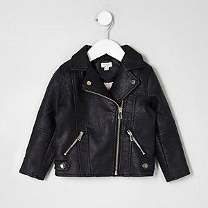 Perfecto en cuir synthétique noir pour mini fille