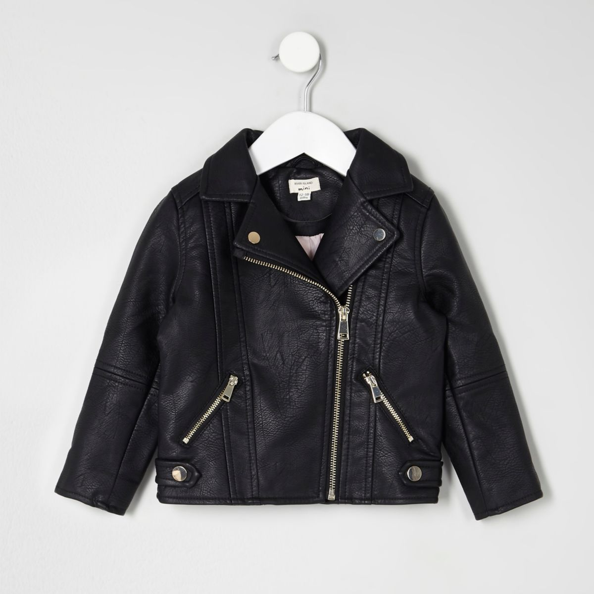 Mini girls black faux leather biker jacket - Baby Girls ...