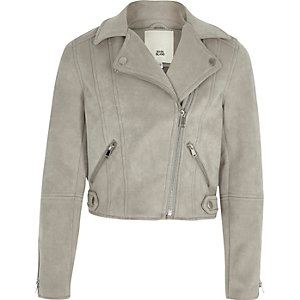 Girls grey faux suede biker jacket
